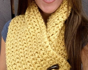 Crochet Mustard Wrap- 2 Button