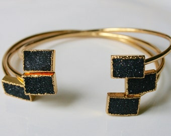 Black Raw Natural Druzy Stone Bracelet Edged in Gold - horizontal