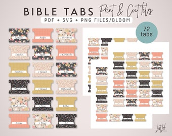 Journaling Bible Tabs Print and Cut Set - SVG, PDF and PNG files (includes 72 Tabs) - Bloom Theme
