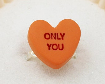 Candy Heart Sayings Ring- Valentine's Day Jewelry - Polymer Clay Jewelry - Candy Jewelry - Gifts For Her
