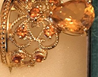 Vintage sterling vermeil designer size 7 gold ice ring signed