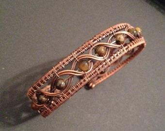 Antiqued Copper Wire Wrap Bracelet with Tigerseye Gemstones/ Copper Bracelet/ Wire Wrap Bracelet/ Wire Wrap Jewelry/ Cuff Bracelet/