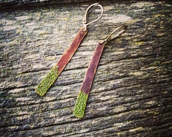 Colored Antiqued Brass Earrings