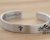 "SALE Custom Medical Bracelet - 3/8"" Wide Cuff, Secret Message"