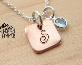 Tiny Square Copper Inital with Birthstone charm, hand stamped necklace