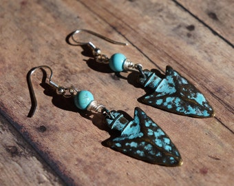 Arrowhead Earrings, Boho Chic, Patina, Turquoise