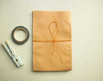 Mini kraft pouches brown quality glassine (pack of 20) 9,5cm x 13cm plus flap (pouches made in Germany)