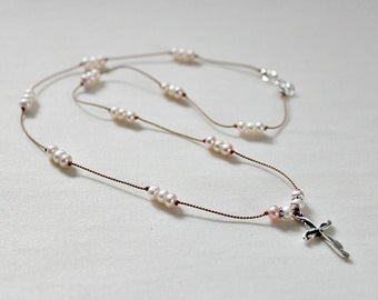Delicate Cross Necklace,Easter Gift For Girl,For Woman,Pearl,Silk Cord,Confirmation Gift for Girls,First Communion Gift for Girl,Unique