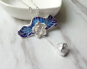 Cloisonne blue silver plated lotus leaf pendant necklace 0332-2