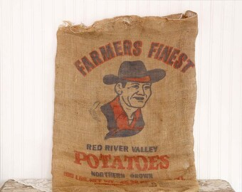 Vintage Burlap Potato Sack, Burlap Gunny Sack, Farmers Finest Potato Sack, Vintage Farmhouse Decor, Western Decor