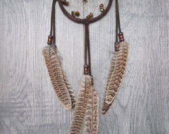 ON SALE Dream Catcher Chocolate Brown Suede with Pheasant Feathers