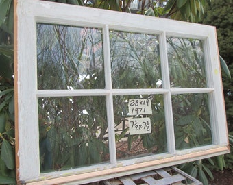 28 x 19 Vintage Window sash frame old 6 pane  from 1971