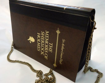 The Memoirs of Sherlock Holmes Book Purse Brown Bag Clutch - Upcycled Book