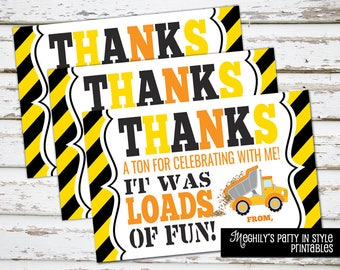 INSTANT DOWNLOAD - Construction Thank You Notes
