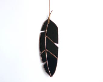 "9"" Stained Glass Crow Feather - medium - All black glass with leather for hanging"