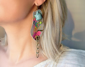 Funky painted earrings Grey leather earrings with bronze chain and ceramic turtle charm Mixed Media Assemblage earrings Big chunky earrings