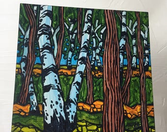 Elms and Birches original painting