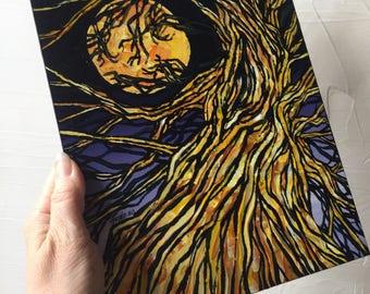 Full Moon Halloween Tree original painting