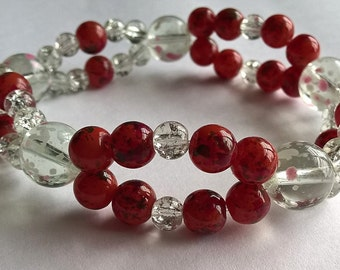 """8.5"""" Two Strand Stretchy Bracelet: Red, White, Pink, Clear Crackle Glass Beads-Valentines Day, Sweetharts Day,  Large Wrist Bracelet"""