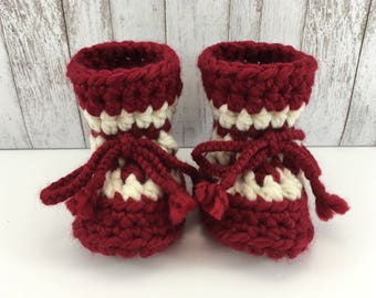 Red with Cream Stripe BABY Toddler Child Crochet SHEEPSKIN Slippers and Booties with Brown Leather Suede and Sheepskin Shearling Sole