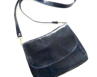 Navy Leather Satchel Crossbody Bag