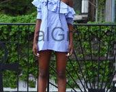 One Shoulder Stripe Ruffle Shirt Dress
