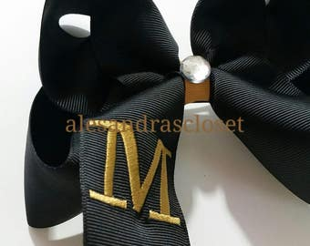 Black And Gold Large Letter M Embroidered Initial Hair Bow New Orleans Saints Girls Toddler Teen Team Hair Bow Sports Everyday Hair Bow