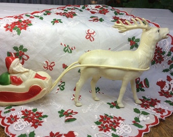 Vintage Celluloid Santa Sleigh and Deer