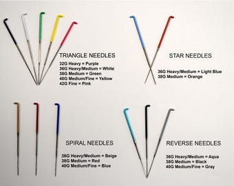 REVERSE FELTING NEEDLES / Color Coded Variety Pack / 36 gauge / 38 gauge / 40 gauge / felting needle assortment reverse barb felting needles