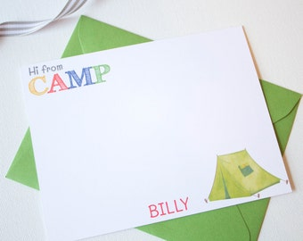 Personalized CAMP Stationery Set | Camp Stationary | Summer Camp Note Cards | Childrens Stationary