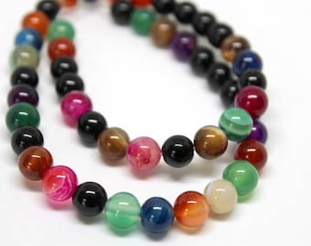 8 mm Mixed Color Colorful Agate Beads