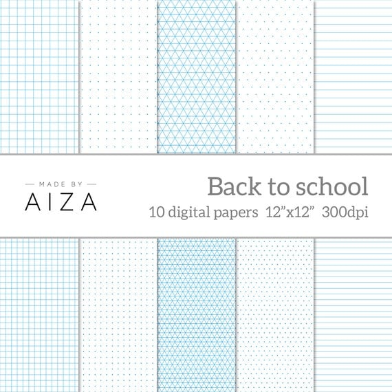 Back To School  Digital Paper  Exercise Book Grid Paper Graph
