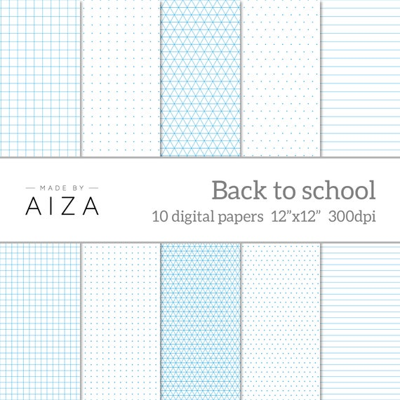 Back To School - Digital Paper - Exercise Book, Grid Paper, Graph