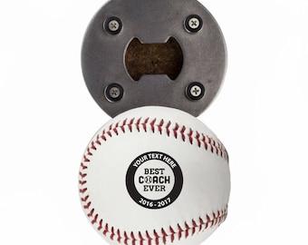 Custom Baseball Coaches Gift - Best Coach Ever - Bottle Opener made from a REAL Baseball - The Baseball Opener