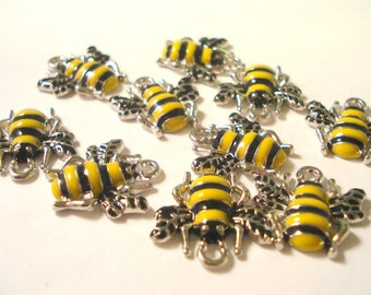 18mm Silver Tone Bee Charms Pack of 6 Yellow and Black Bee Shape Charms C56