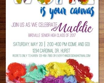 Custom printed graduation invitations- The World Is Your Canvas