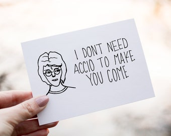 FREE SHIPPING inappropriate Valentine's Day card, Harry Potter card, book card, geek card, nerd card, anniversary card, sex joke,