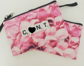 C*NT makeup bag - MATURE - Scrabble Art - Rose Petals - Funny Gift for Friends - C U Next Tuesday - Cosmetic Bag Stocking Stuffer