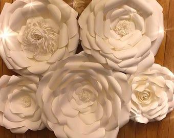 Paper Flower Set  custom colors. Handmade to order.