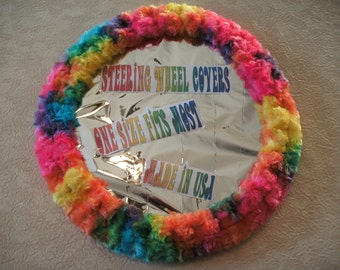Fuzzy soft bright rainbow tie dye rosebud swirls steering wheel cover