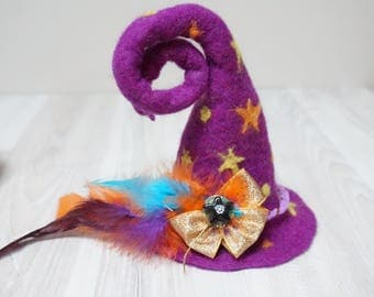 Purple Witch mini top hat Halloween star moon felted with felt wool fascinator brooch pin cap wizard yellow New year Christmas carniv