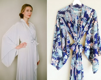"One custom long ""Noguchi"" kimono robe in faux silk. Long kimono robe Paisley silk kimono Long bridal robe with pockets Gift for her"