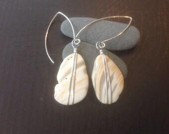 Seashell in Sterling silver earrings