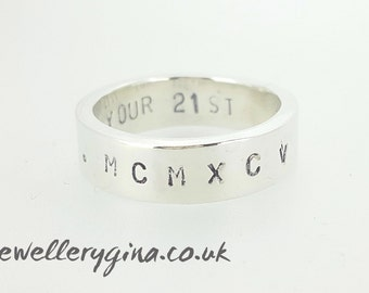Roman numerals, Personalised mans ring. Sterling silver ring with your personalized message hand-stamped inside
