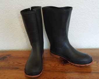 Vintage Women's Rubber Boots Size 6 Made in Canada Rain Snow Garden