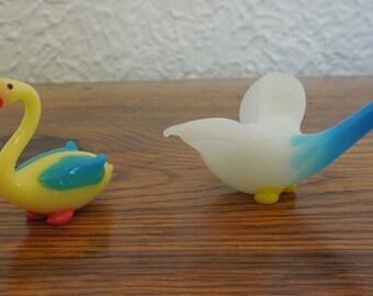Vintage Hand Blown Art Glass Miniature Birds Lot of 2 Pelican Goose Murano Italy