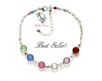 Mothers Birthstone Bracelet, Family Bracelet, Sterling Silver Bracelet, Mothers Bracelet, Birthstone Bracelet, Birthstone Jewelry