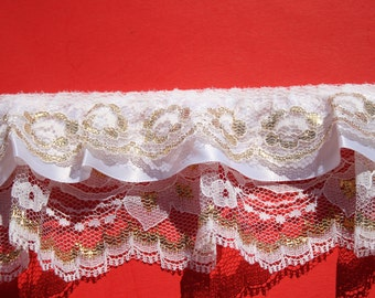 Vintage White Gold Ruffled Lace Trim, 3 inch Triple Layer Gathered Romantic Trim, Almost 2 yards