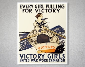 Every Girl Pulling For Victory, Victory Girls by Edward Penfield - Poster Paper, Sticker or Canvas Print