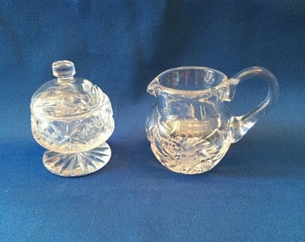 Ending Soon  STORE WIDE SALE Vintage Crystal Glass Petite Cream and Sugar Bowl with Lid